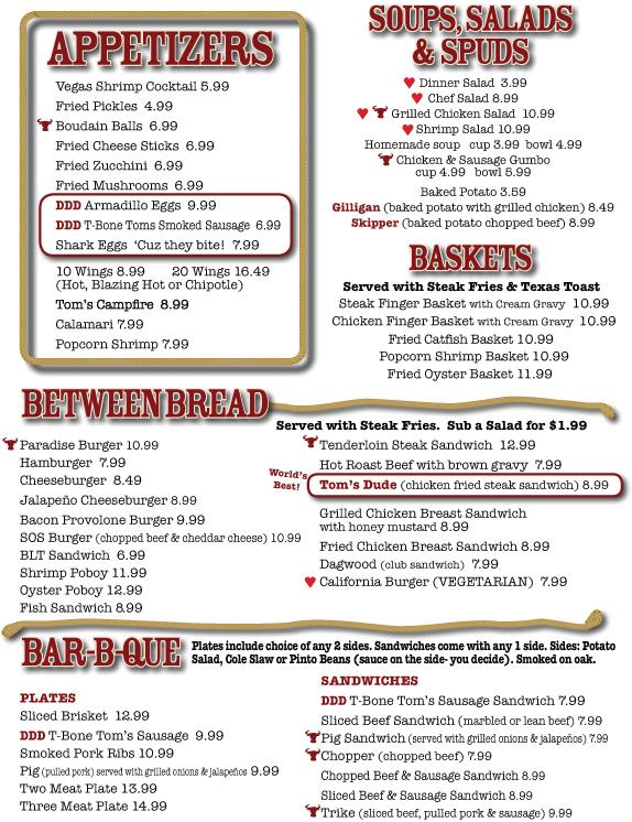 Restaurant Paris Texas Menu